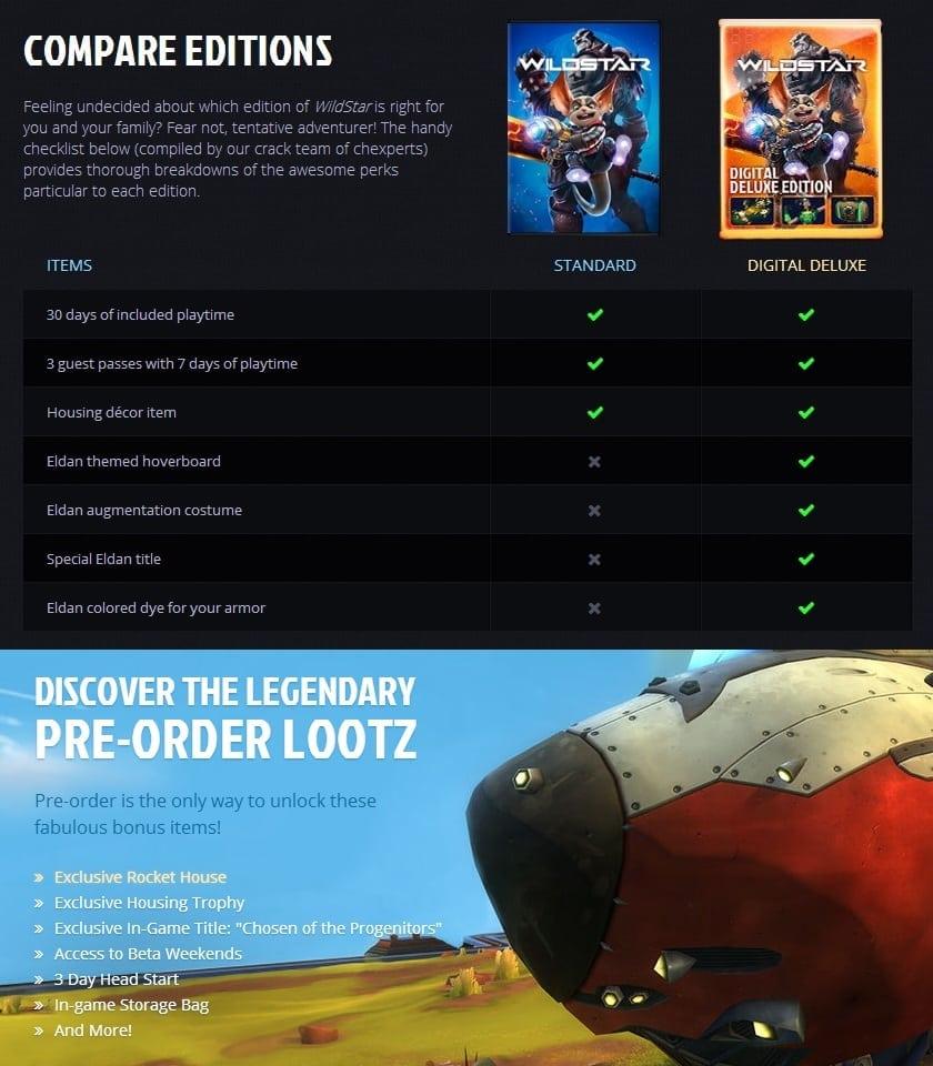 WildStar - Pre-order packages