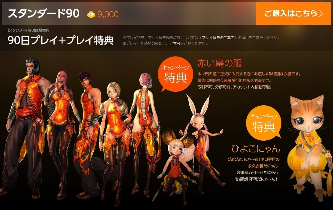 Blade & Soul Japan 90 days package