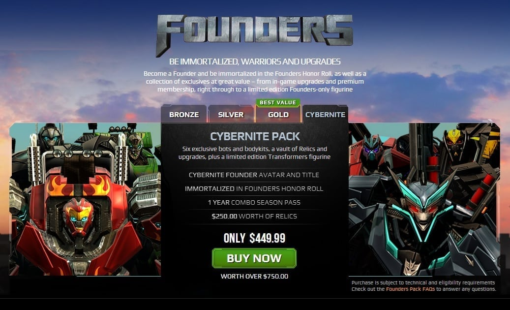 Transformers Universe founders packs
