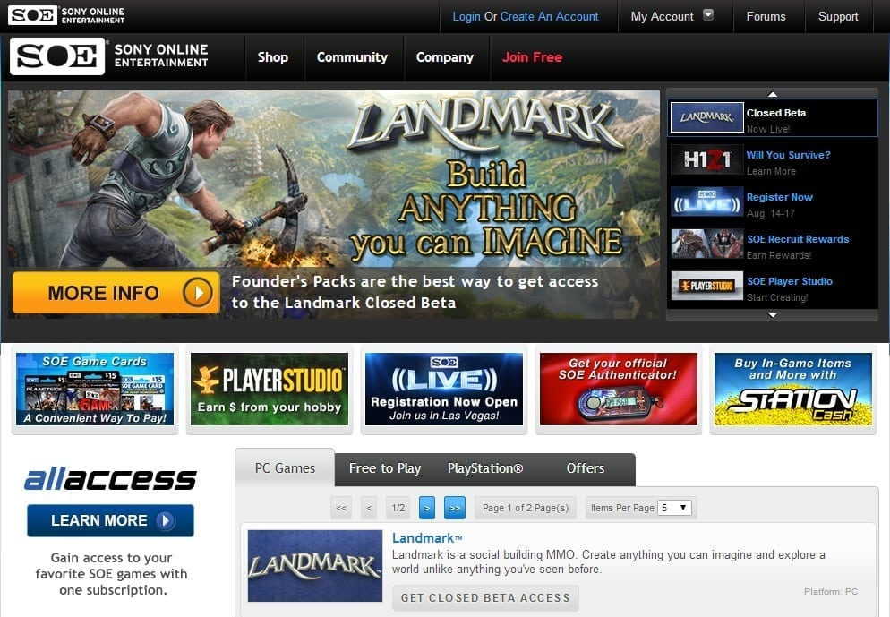 Sony Online Entertainment website