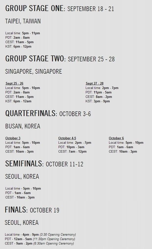 League of Legends World Championship 2014 schedule
