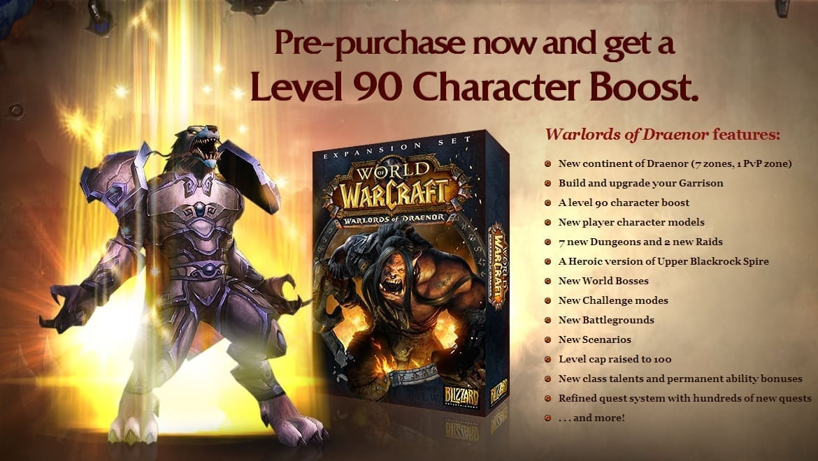 World of Warcraft Warlords of Draenor pre-purchase
