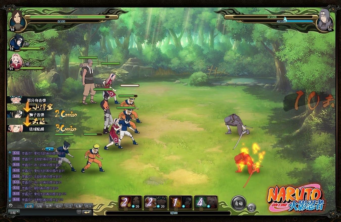 Naruto Online - Combat screen