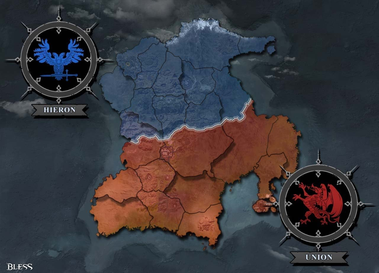 Bless - Opposing factions and continent map
