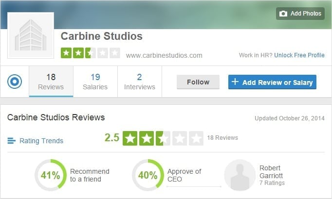 Carbine Studio - Glassdoor profile