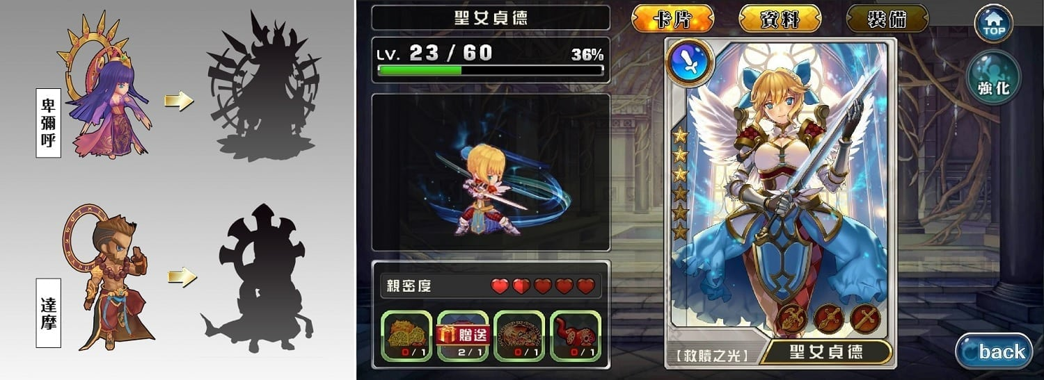 Grace Valhalla - Character evolution and profile window