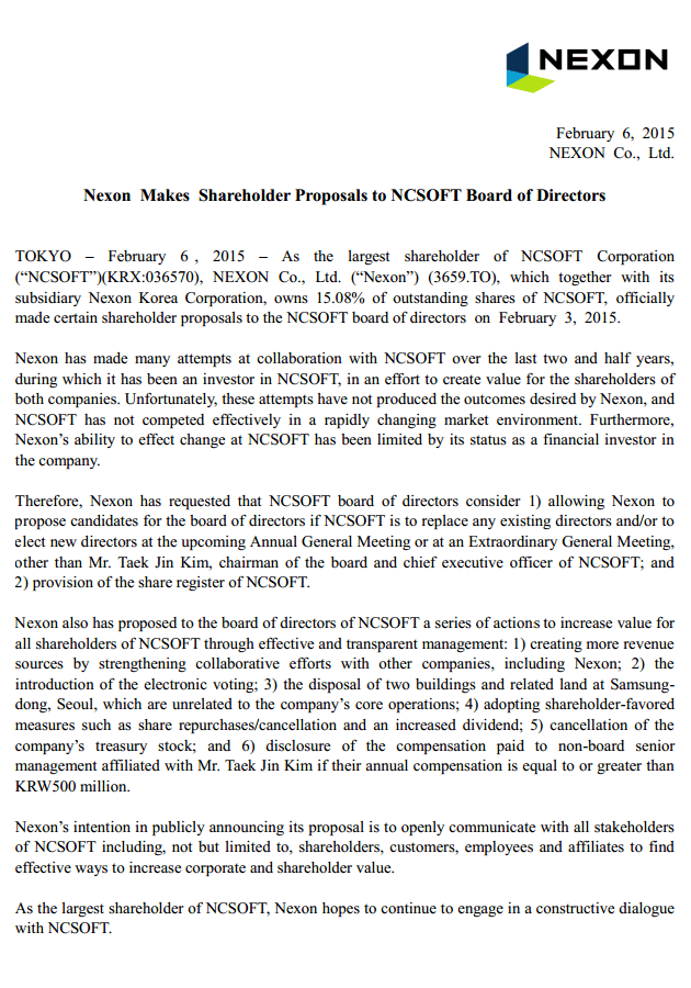 Nexon vs NCsoft proposal