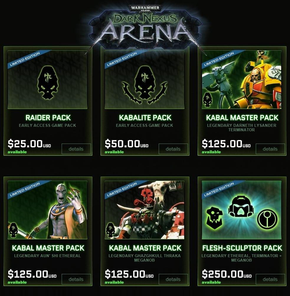 Warhammer 40,000 Dark Nexus Arena - Early access packs