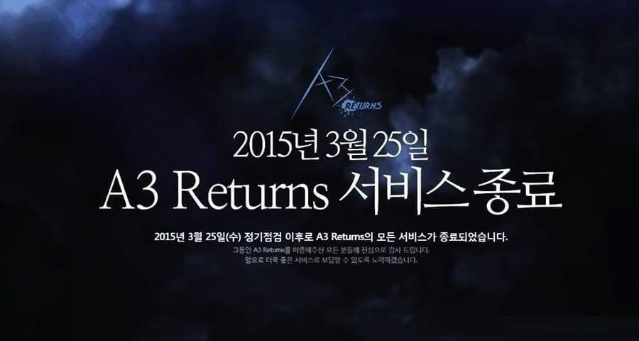 A3 Returns closure announcement
