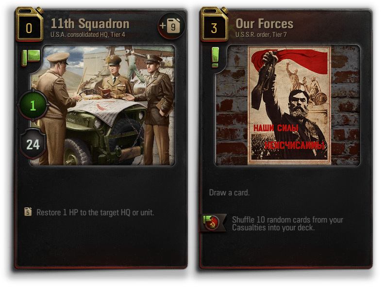 World of Tanks Generals - Card examples