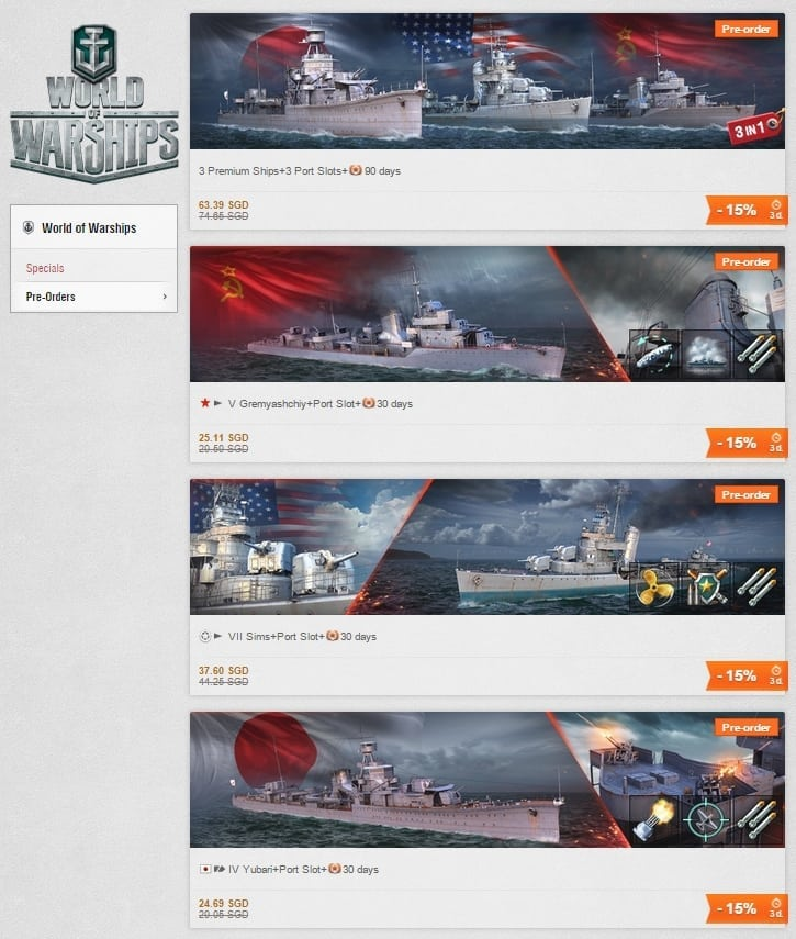 World of Warships pre-order packages