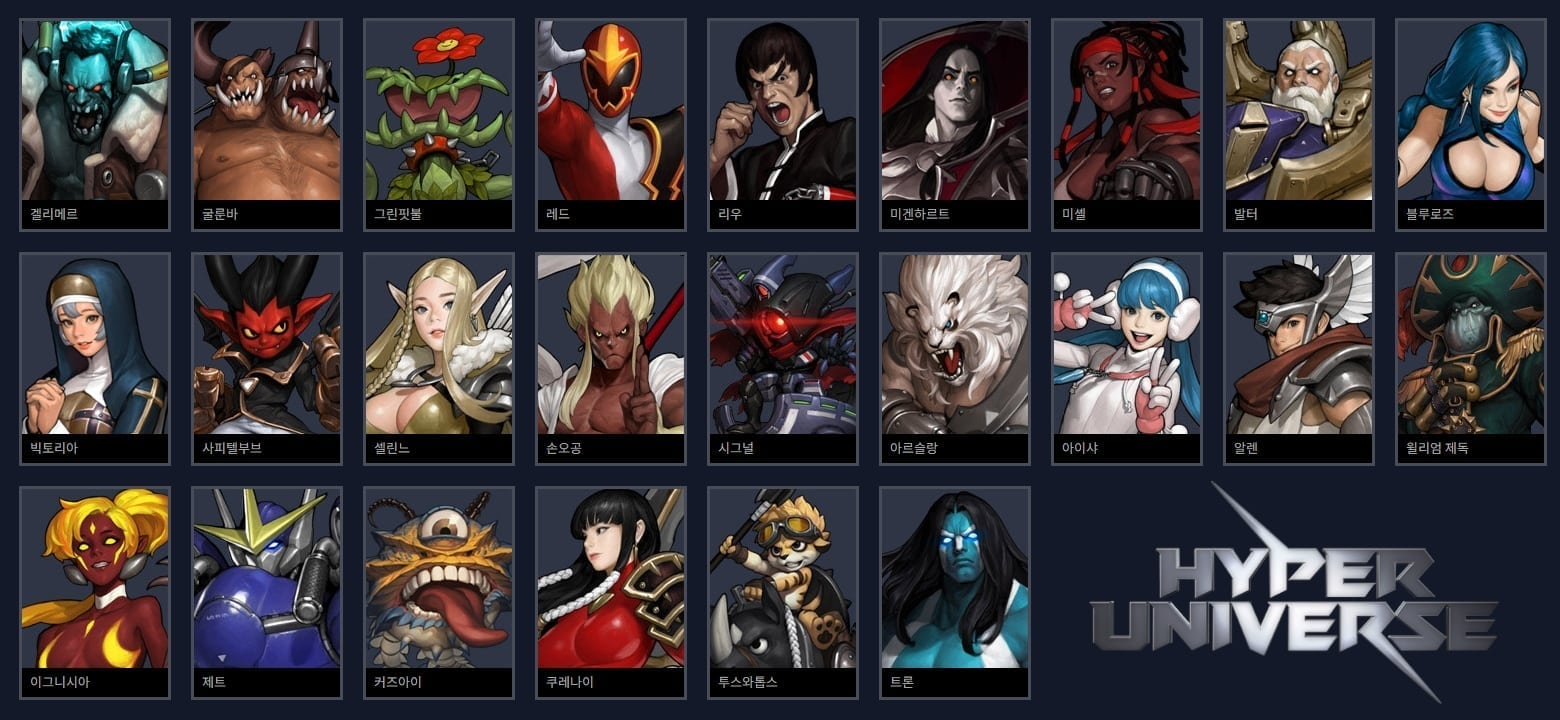 Hyper Universe - Starting characters