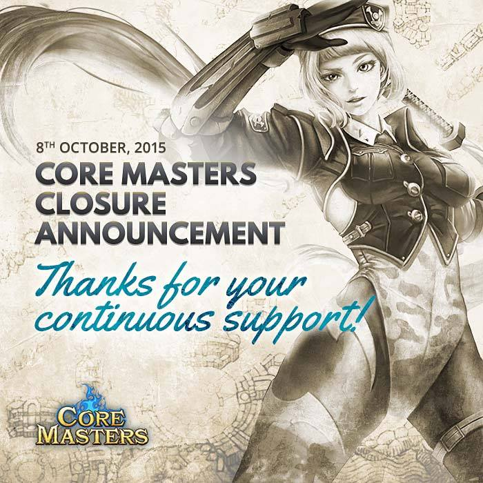 Core Masters closure announcement