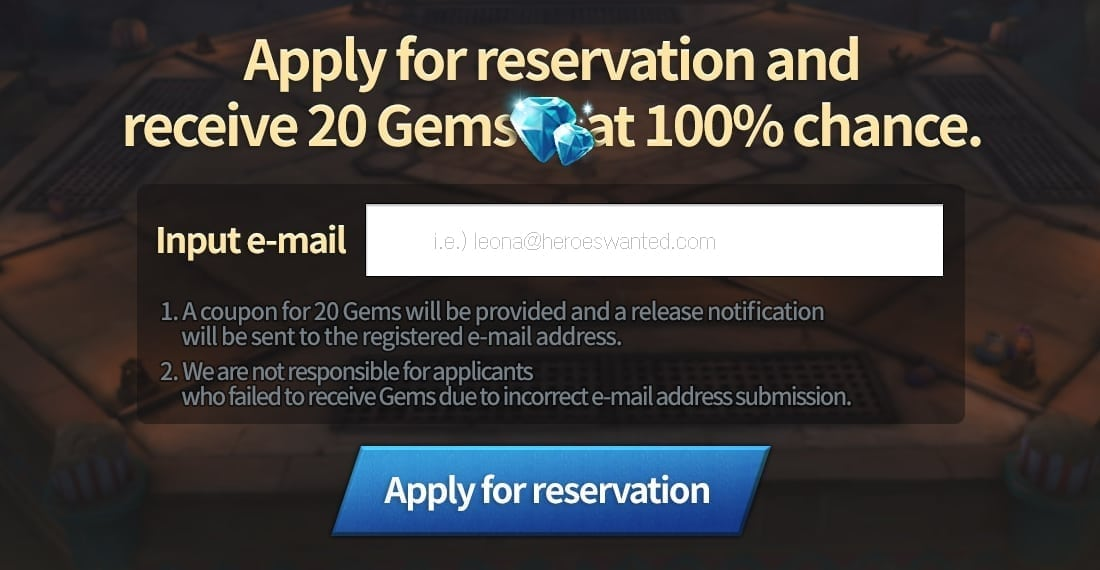 Heroes Wanted pre-register