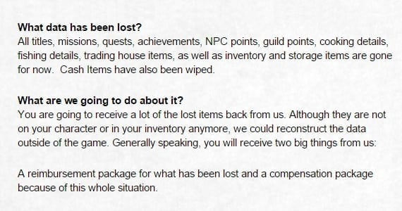 Dragon Nest Europe data loss details