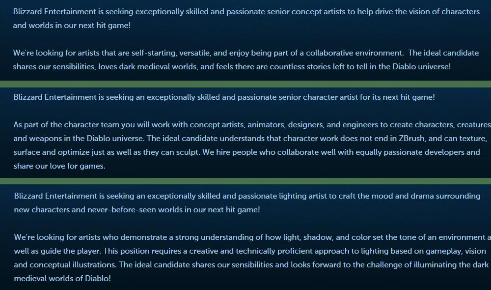 Blizzard - Diablo unannounced project