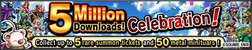 Final Fantasy Brave Exvius 5 million download banner