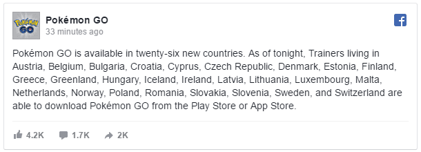 Pokemon GO 26 countries